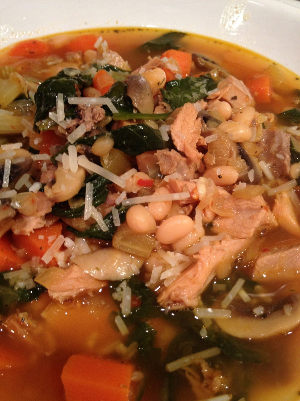 Leftovers Soup: Turkey-Spinach-White Bean