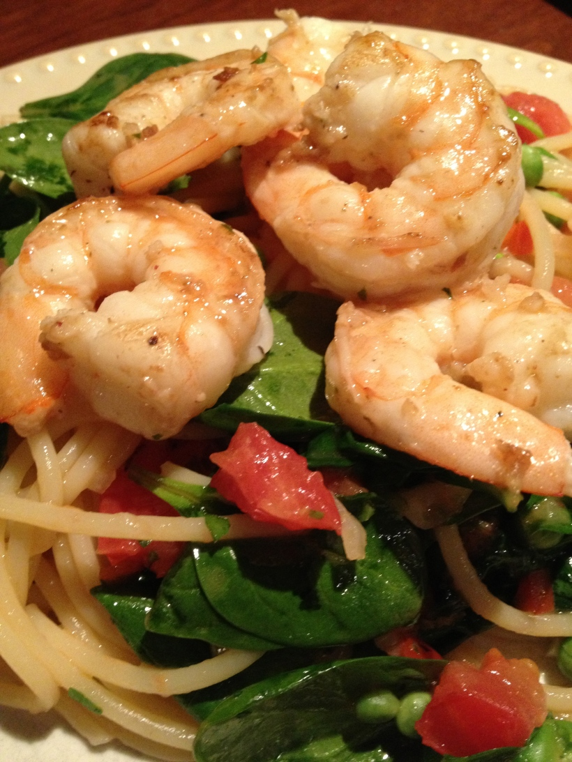 Shrimp Pasta in a White Wine reduction sauce